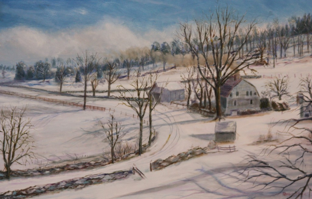 Winter's Shadows on Ingham Hill, 1800's in Connecticut