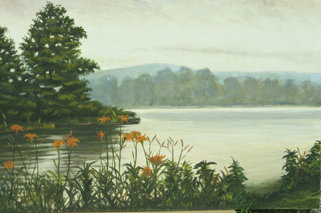 """""""Lillies on the River II""""-oil painting"""