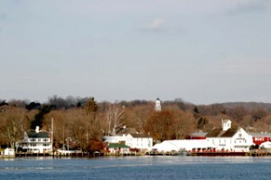 Steamboat Dock, Connecticut River Museum, and the Cupola of the Baptist Church