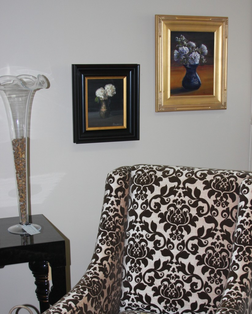 """Oil Paintings """"White Flowers in Blue Vase"""" and """"White Hydrangeas in Vase"""" and their placement in Design Essence, Main St, Old Saybrook, CT"""