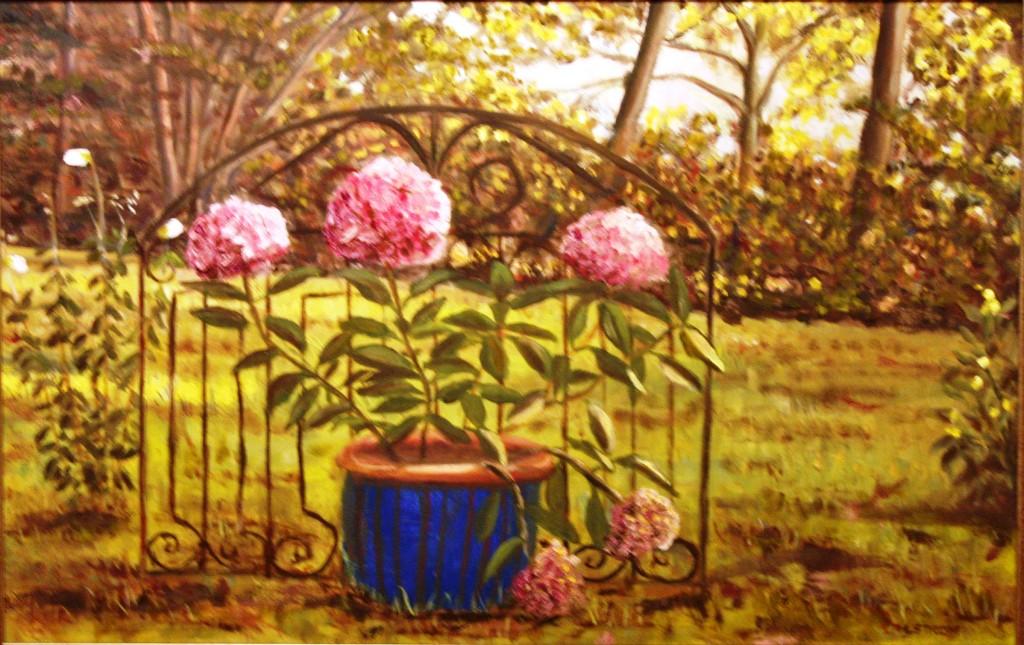 """""""Hydrangeas in a Blue Pot"""" Fine Art Oil Painting by Daniel S. Dahlstrom"""