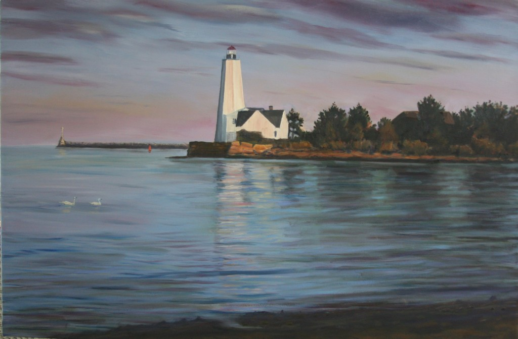 Swans and Sunset (Lynde Point Lighthouse, Old Saybrook, CT)