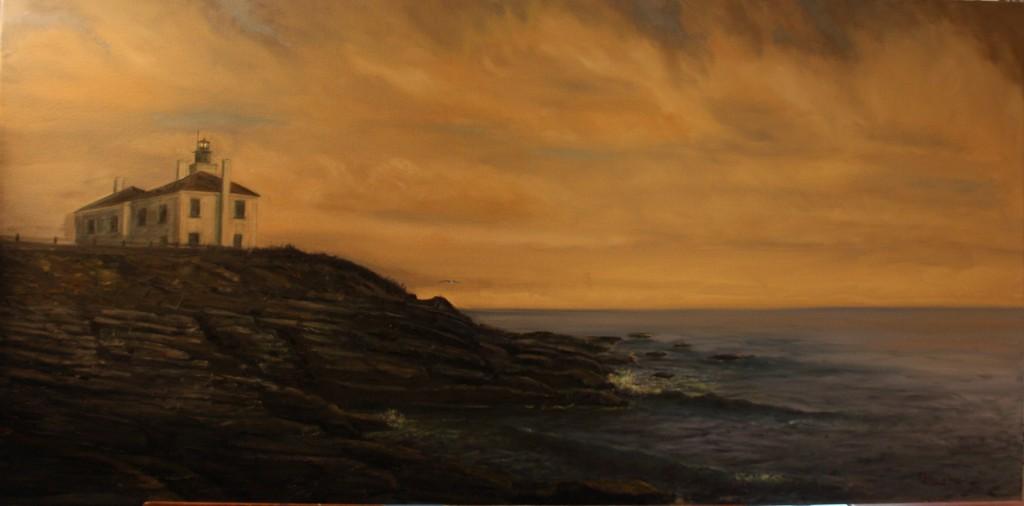 """Dusk"" (Beavertail Park, Beavertail Lighthouse in Rhode Island)--Lighhouse"