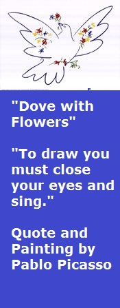 """Dove with Flowers"" Painting and Quote by Picasso"