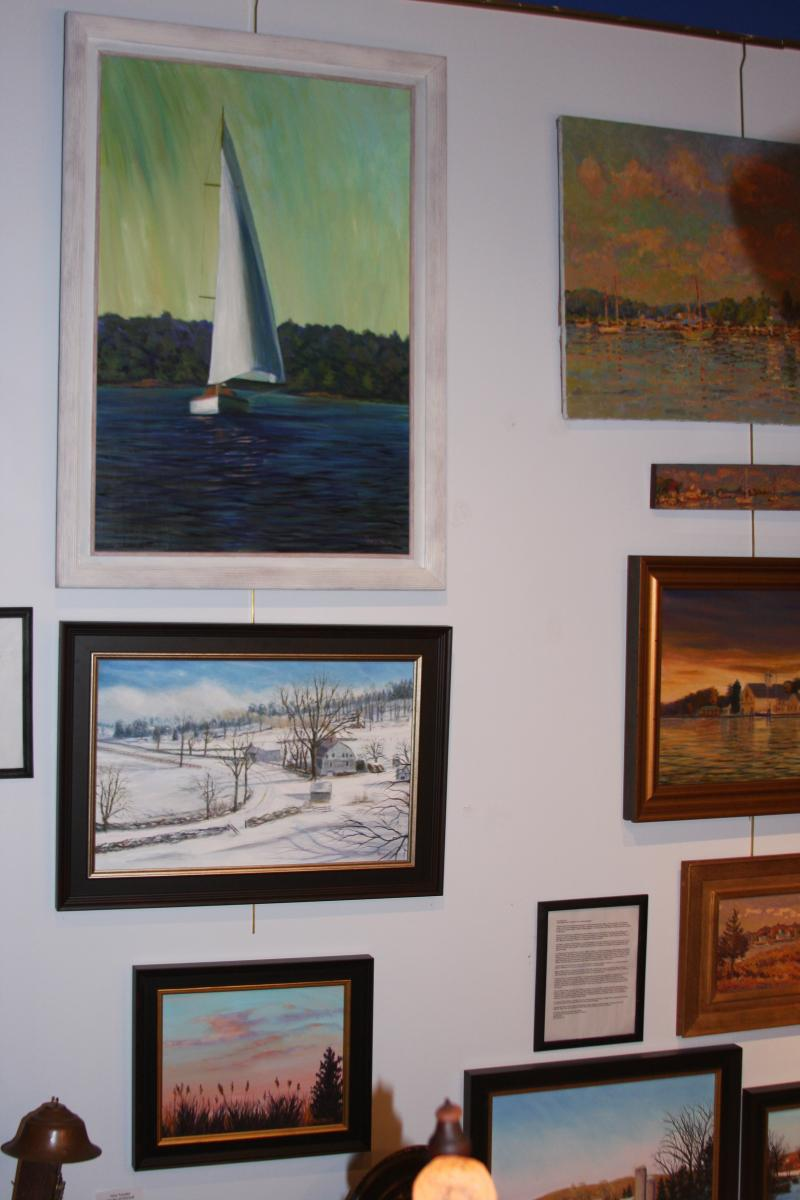 Display of paintings at Jamestown Gallery, Jamestown, Rhode Island