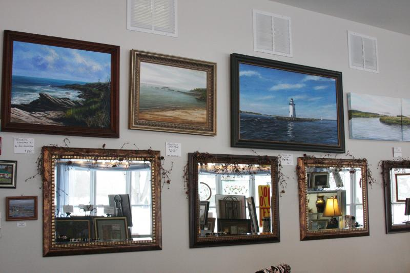 Display of paintings at Simply Pearls and More in Westbrook, CT