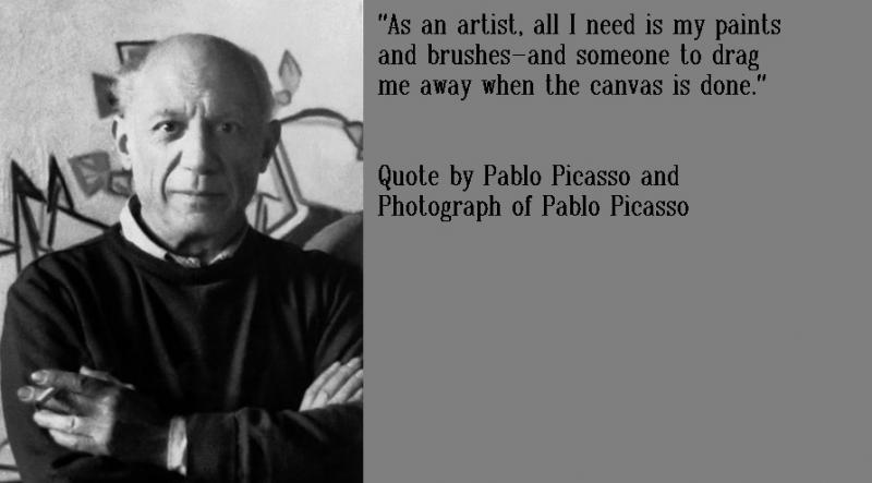 Quote and Photograph of Pable Picasso