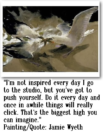 "Painting and Quote by Jamie Wyeth---""Sea Battle"""